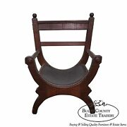 Unusual Antique Aesthetic Walnut Leather Seat X Frame Arm Chair