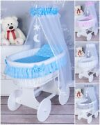 Large Sweet Dreams New Wicker Moses Basket With Bedding Set And Stand- 7 Colours