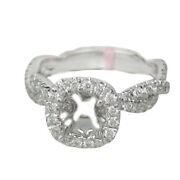 0.70ctw G-h Si Round Cut Diamond In Twisted Rope Design Setting 18k White Gold
