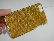 Gold Yellow Made With Crystals Bling Glitter Shiny Case Cover Iphone 5