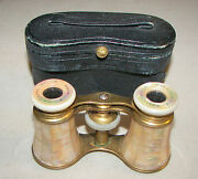 Antique Lemaire Ft Paris Opera Glasses Mother Of Pearl With Case