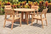Celo 5-pc Outdoor Teak Dining 48andrdquo Butterfly Round Table 4 Stacking Arm Chairs