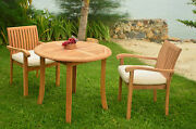 """Napa 3-pc Outdoor Teak Dining Patio Set 36"""" Round Table, 2 Stacking Arm Chairs"""