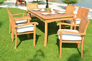Napa 7-pc Outdoor Teak Dining Patio 60 Rectangle Table 6 Stacking Arm Chairs