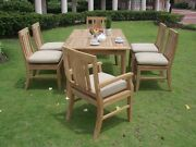 Osbo 7-pc Outdoor Teak Dining 94andrdquo Rectangle Extn Table 6 Arm/armless Chairs