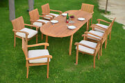 Napa 9-pc Outdoor Teak Dining 94 Oval Extension Table, 8 Stacking Arm Chairs