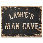 Pp2979 Lanceand039s Man Cave Plate Chic Sign Birthday Fatherand039s Day Decor Gift