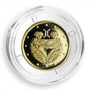 Ukraine 2 Hryvnas Signs Of The Zodiac Gemini Gold Coin 2006