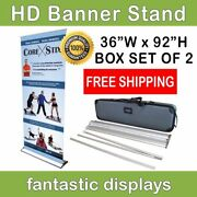 36 Pro Line Retractable Roll Up Banner Stand For 69' - 92 Tall Banners - 2pack