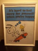 Vintage Framed Fabric Piece Peanuts Snoopy+woodstock When Youand039re Happy