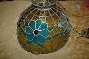 Vintage Leaded Stained Glass Hanging Light Shade Amberbluegreenorangeclear