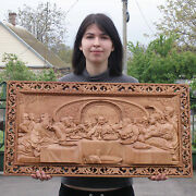 Last Supper 3d Art Orthodox Wood Carved Religious Icon - Large Jesus 32x17