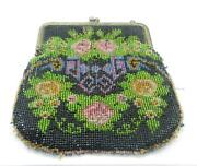 Antique Micro Beaded Floral Purse Made In Germany - Lb-c1047