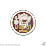 Coffee Pot-one Day At A Time Enameled- 12 Step Recovery/ Aa/na Lapel Pin 1/2