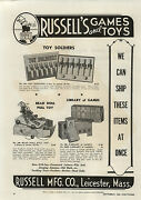 1944 Paper Ad Russell Co Wood Wooden Toy Soldiers Bead Doll Pull Toy Games