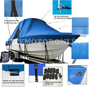 Dusky 233 Open Fisherman Center Console T-top Hard-top Fishing Boat Cover Blue