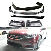 Fit 13-15 Accord 4dr Front + Rear Bumper Lip + Side Skirts + Fog Lights Lamps