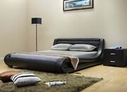 Greatime Contemporary Black Leatherette Bed With Headboard Light And Curved Slats