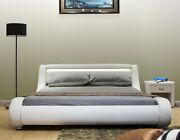 Greatime Contemporary White Leatherette Bed With Headboard Light And Curved Slats