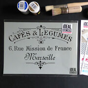 Stencil Vintage French Cafes And Legumes Shabby Chic Decor Furniture Stencils