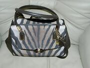 Nwt Coach Madison Zebra Print Small Madeline Purse F26634 And Wallet 50489