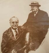 Signed Original Lithograph Of Churchill And Roosevelt Signed By Sarah Churchill