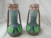 Antique Art Nouveau French Majolica Pr Handled Vases Reticulated 1594 Signed