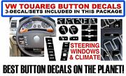 3 Sets Fits Vw Touareg Button Repair Decal Sticker Set Window Climate Steering