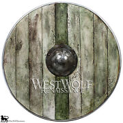 Aged Wood Viking Shield In Winter Moss --- Norse/norway/medieval/antique/armor