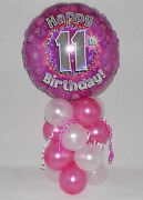 11th Birthday - Age 11-girl Pink-foil Balloon Display-table Centrepiece-banner