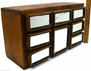 Vintage Signed Folk Art Chest Of 8 Drawers Crude Wood W/ Mirrors Jewelry Spice