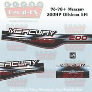1996-98+ Mercury 200hp Os Efi Decal Offshore Outboard Repro 3pc Marine Vinyl1997