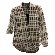 Alfani Multi Color Plaid Print Long Sleeve Cross Front Blouse And Cami Nwt F/s