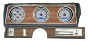 1970-72 Oldsmobile Cutlass Dakota Digital Silver Alloy Blue Vhx Analog Gauge Kit
