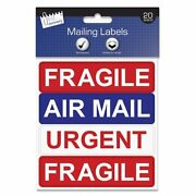 20 Pack Of Self Adhesive Fragile Air Mail Urgent Mailing Labels Stickers - 1278