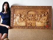 Last Supper 3d Art Orthodox Wood Carved Religious Icon Large Jesus 48x25
