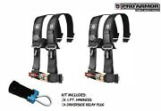 2x Pro Armor 2 4pt Harness Seat Belt W/sewn Pads Black For Polaris Can-am