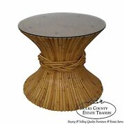 Mcguire Sheaf Of Wheat Bamboo Rattan Round Glass Top Coffee Table