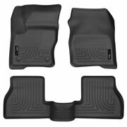 Husky Weatherbeater Front And 2nd Seat Floor Liners Black For Ford Focus 2012-2015