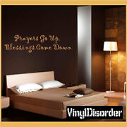 Prayers Go Up Blessing Come Down Wall Quote Mural Decal-spiritualquotes07