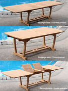 A-grade Teak Wood Mas 94 Rectangle Double Extension Dining Table Outdoor Patio