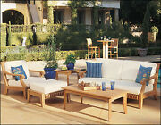 Giva A-grade Teak Wood 5 Pc Outdoor Garden Patio Large Sofa Lounge Chair Set New