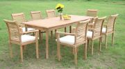 Sam A-grade Teak 9pc Dining 71 Rectangle Table 8 Stacking Arm Chair Set New