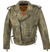 Men's Motorcycle Riders Distressed Classic M/c Jacket Police Terminator Style
