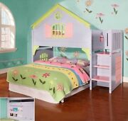 Girls Twin Doll House Loft Bed With Stairs Drawers And Magazine Rack