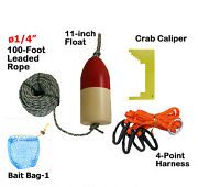 Kufa 1/4 Diameter X 100and039 Leaded Rope/11 Red/white Float/harness/clipper/bait