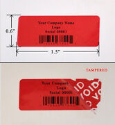 10000 Security Label Seal Sticker Red Custom Print Tamper Evident Ps3 1.5x 0.6
