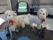 Two Vintage 1950's Linemar Toys Battery Operated Walking Dog Marx Japan Working