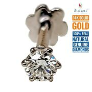 4.0mm 1/4 Ct Real Si Diamond Solitaire Nose Lip Labret Stud Piercing Ring Screw