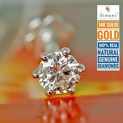 4.0mm 1/4 Ct Real Si Diamond Solitaire Nose Lip Labret Piercing Stud Ring Screw